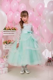 Wholesale Princess Bow Belt - Mint Green New Arrival Princess Lovely Flower Girls Dresses 2016 Tulle Ruffles Bow Belt Long Sleeves Lace Girl's Dresses For Wedding