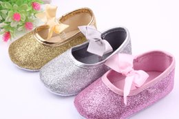 Wholesale Pink Glitter Fabric - New Arrival Wholesale Glitter Baby Walking Shoes Cotton Fabric Bowknot Lace-up Hook & Loop Toddler Shoes For Girls Casual Dress Shoe 0-1y