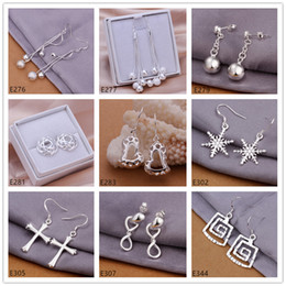 Wholesale Earrings Dangle Mixed - New arrival women's sterling silver earring 10 pairs a lot mixed style EME30,cheap fashion 925 silver Dangle Chandelier earrings