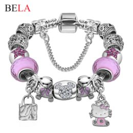 Wholesale Gold Murano Beads - Lovely Girls Jewelry Silver Plated 925 Women Bracelet Pink&Blue Murano Glass Beads Crystal Hello Kitty Charms Bracelet for Women