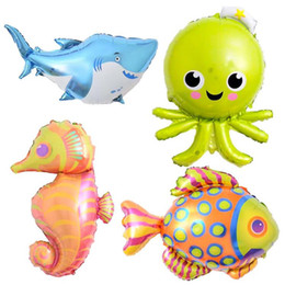 Wholesale Fishing Set Toy - 50pcs lot Octopus Foil Balloons Fish Inflatable Toys Sea World Party Balloons Birthday Party Decorations Kids Wedding Decor Party Supplies