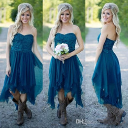 Wholesale Strapless Short Green Beach Dresses - Lace Chiffon Country Short Bridesmaid Dresses 2016 Cheap Strapless Teal Hi-Lo Ruffle Beach Junior Party Dress Maid Of Honor Gowns Under 100