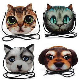 Wholesale Wholesale 3d Purses - 3D Shoulder Bags Cat Face Pouch Bag Cartoon Print Messenger Bag fashion 3D print animal pattern Handbag for women Shoulder Bag D534 5pcs