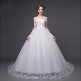 Wholesale Lowest Prices Corset - In Stock White Tulle Wedding Dress Scoop Neck Lace Low Price Sleeveless Bridal Dresses Corset Back