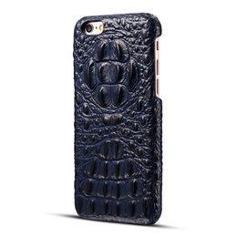 Wholesale Plastic Crocodiles - Luxury Classic Top Layer Cowhide Genuine Leather Crocodile Head Pattern PC Cover Cases For iPhone 6 6s 7 plus Samsung S8 plus OPPBAG