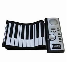 Wholesale Roll Up Displays - 61 Keys Portable Roll Up Electronic Keyboards Piano organ LCD display silicone waterproof MIDI port folding soft piano factory wholesale