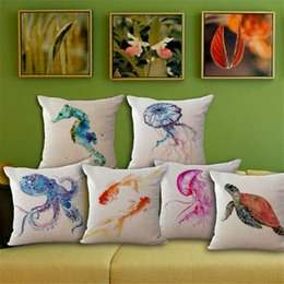 Wholesale sea beds - Sea Life Devilfish Turtle goldfish Pillow Case Cushion cover Square linen cotton Throw Pillowcase Cover Home Sofa bedding set Decor 240490