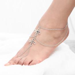 Wholesale Seaside Bracelets - New Retro Heel Chain Jewelry Beach Seaside Even Anklet Foot Bracelet Bohemia Anklet Multi-Layer Tassel Foot Chain Leg Bracelet Beach Fashion