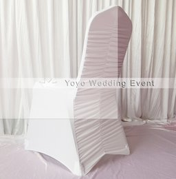 Wholesale Spandex Ruffle Chair Covers - White Pleated Spandex Chair Cover Ruffled Spandex Lycra Chair Cover
