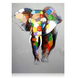 Wholesale Panel Artwork - KAGREE Multicolor Elephant and Parrot Painting Txtured Pop Art Animal Artwork Handpainted on Canvas 24x32Hinch Unframed Arts