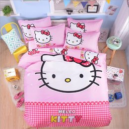 Wholesale Full Queen Bedding Sets - cartoon lovely beddings hellokitty bed sheet duvet cover for home and dormitory
