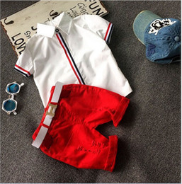 Wholesale Boys Stripe Collared Shirts - 2016 Summer Boys Clothing Sets Gentleman Style Short Sleeve Stripe Shirts + Shorts 2pcs Set Children Outfits Kids Baby Suits 5sets lot