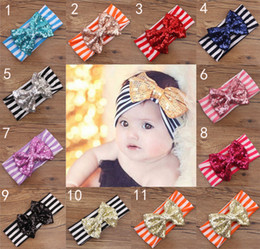 Wholesale Striped Headbands - 11 Color New Fashion girls Bow stripe headbands baby sequins bowknot headband girls Striped cotton headbands Handmade baby Accessories B001