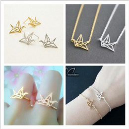 Wholesale Tibet Jade Woman Rings - Origami Paper Crane Necklace Bracelet Earring Ring Parure Bijoux Origami Paper Crane Stainless Steel Jewelry Sets for Women
