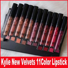 Wholesale Purple Lip Gloss - Sneak peek Kylie 11 colors New Velvets Liquid Lipstick kit Purple Halloween Lip Gloss Los key Basic Boy Bye Punk DHL shipping