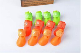 Wholesale Hot Dog Candy - Hot pet dog Shoes Rain Boots Waterproof Protective Rubber Pet Rain Shoes Booties of Candy Colors S M L XL XXL size