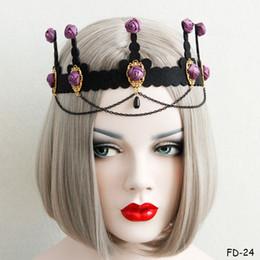 Deutschland Halloween Punk Gothic Vampir Stirnband Damen Rose Blume Harz Perlen baumeln Quaste Haarband Vintage Teufel Ohren Fledermaus Haar Stirnbänder für Frauen supplier vampire flower Versorgung