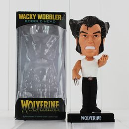 Wholesale Shaking Head Dolls - Super Hero Wolverine shake his heads PVC Action Figure Collectable Toy Doll for kids gift 16cm