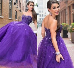 Wholesale pictures beautiful black girls - Purple Sweetheart Neck Quinceanera Dresses Beaded Lace up Back Long Prom Dresses Tulle Beautiful Girls Pageant Dresses