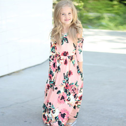Wholesale New Princess Baby Dress - Autumn Baby Girls Dress New Floral Print Ruffles Maxi Dress Flower Printed Princess Autumn Kids Dresses Children Beach Dress C1920