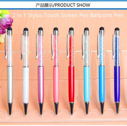 Wholesale Wholesale Ipad Pens - Diamond Ballpoint Touch Stylus Pen 2 in 1 Crystal Swarovski Capacitive Stylus Touch Ballpoint Pen For iPhone iPad Tablet PC Smartphone