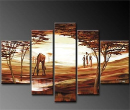 Wholesale Unique Giraffe - Modern oil paintings decorative images 5pcs   set on canvas abstract art unique hand-painted landscape giraffe pictures gifts