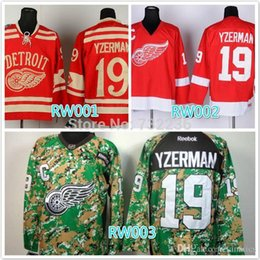 Wholesale Wholesale Cheap Cotton Shirt - 2016 cheap stitched NHL Detroit Red Wings #19 Steve Yzerman red  camo ice hockey jersey shirt sportswear
