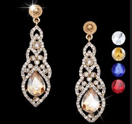 Wholesale Champagne Brides Jewelry - New Champagne Crystal Wedding Earrings for Brides Gold Long Earrings with Crystals Tear Drop Earrings jewelry