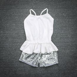 Wholesale Boy Short Sequins - Summer Fashion Kids Sequins Clothing White Top+Short 2 PCS Children Clothes Set For 1~4 Y Kids 4 S l