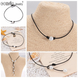 Wholesale Cord Necklaces For Women - New Pearl Handmade Single simulation Perfect Round Pearl leather necklace on Genuine Leather Cord for Women Pearl Jewelry