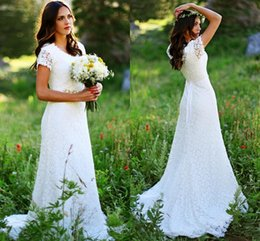 Wholesale Cheap Jenny Packham Wedding Dresses - 2016 New Jenny Packham Sheath Wedding Dresses V-Neck Short Sleeves Pearls Beaded Belt Cheap Full Lace Plus Size Court Train Bridal Gowns