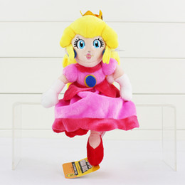 Wholesale Stuffed Princess Toy - Super Mario Plush Princess Peach Plush Soft Stuffed Doll Toys 22cm for kids gift Free Shipping