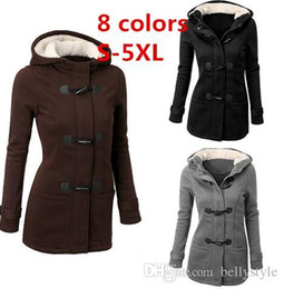 Wholesale Khaki Ruffle Jacket - Winter Jacket Women Hooded Winter Coat Fashion Autumn Women Parka Horn Button Coats Abrigos Y Chaquetas Mujer Invierno DHL 170916