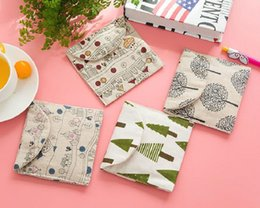 Wholesale Charm Storage - 300pcs 13*12cm Cotton Bags Favour Tree Design Christmas Hook&Look Storage Bag For Sanitary Towel Gift Jewelry Charms Watch Packaging ZA0740