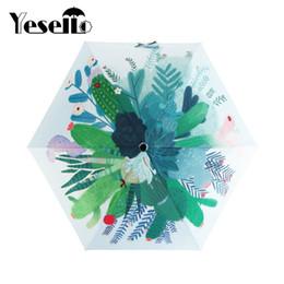 Wholesale Originals Umbrellas - Yesello Cute Cactus Original Design Women's Umbrella Oil Painting 3 Folding Parasol Lady Portable
