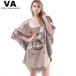 Wholesale Women S Sleepwear Nightgowns - Wholesale-Plus Size Sleepwear Plus Size Robe Bathrobes Batwing Sleeve Circle Print Rayon Silk Nightgowns Women New Loose Nightgown W00169