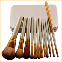 Wholesale Make Up Brushes Gold - Professional 12 PCS Cosmetic Facial Make up Brush Tools Makeup Brushes Set Kit With Retail Box