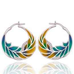 Wholesale Rhinestone Nail Enamels - Enamel Glaze 925 Silver Earrings Nail For Lady Brand Design Feather Earring Cloisonne Jewelries 2017 New Arrival