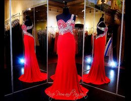 Wholesale Gray Bamboo Flooring - Sexy Backless Red Long Prom Dresses With Crystal Beaded Mermaid Beach Chiffon Long Occasion Party Homecoming Evening Formal Wear Real Made