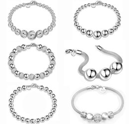 Wholesale Fishing Party Bead - 925 Sterling Silver Beads Bracelet Jewelry Fashion 925 Silver Hollow Round Beads Bracelets For Women Snap Jewelry Hot Sale Good Gift