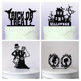 Torta del cranio online-2017 decorazioni di Halloween Black Acrylic Skull Etc Halloween Cake Topper 5 Styles Fancy Party Cake carta inserita