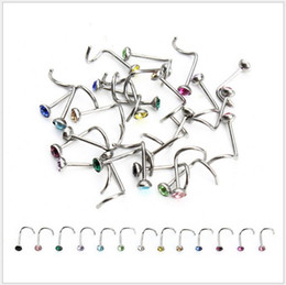 Wholesale wholesale nose stud - 316L Surgical Steel L Shaped Nose Stud Screw with Crystal Indian Nose Stud Lots of 100pcs