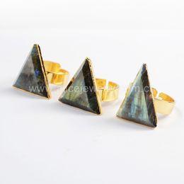 Wholesale Genuine Labradorite - Free Shipping 100% Natural Labradorite Stone Ring 24K Gold Plated Triangle Shape Genuine Stone Ring G0552