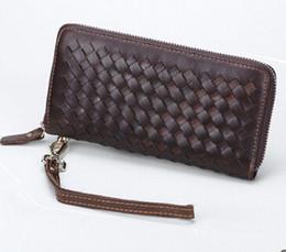 e8f4572c8 2017 nova moda bolsa de mão carteira de couro genuíno dos homens feitos à mão  tecer carteiras longas carteira bolsa de couro trança de embreagem