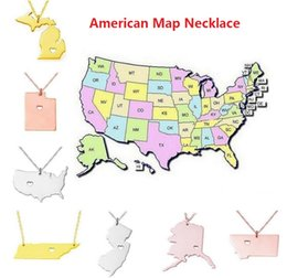 Wholesale Diy Jewelry Heart - America 50 State Map Pendant Necklaces With Heart DIY Stainless Steel Jewelry Alaska State New York State
