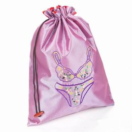 Wholesale Grey Lingerie - Foldable Eco Reusable Bra Bags Woman Underwear Travel Storage Pouch Protector Case Embroidered Satin Cloth Drawstring Bag Wholesale