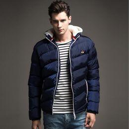 Wholesale Winter Furry Jacket - Wholesale- Autumn Winter Men Down Jacket Hat Detachable Fashion Solid Parka Slim Fit Furry Hooded Coat For Male