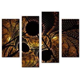 Wholesale black circle picture - Amosi Art-4 Pieces Abstract Circles Black Yellow Wall Art Painting On Canvas Abstract The Picture For Home Modern Decor with Wooden Framed