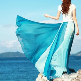 Wholesale Color Block Skirts - 2016 new summer beach bohemia vacation holiday silk chiffon color block 8 meters big expansion maxi long skirt high waist ankle length skirt