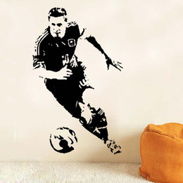Wholesale Removing Adhesive - 2016 Football celebrity stickers The boy bedroom adornment wall stickers Can remove the carved stickers free shipping